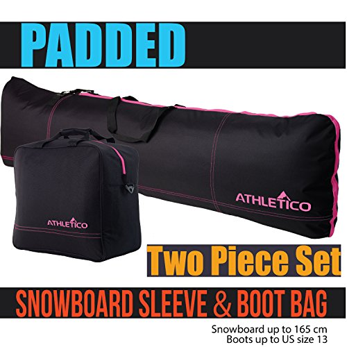 Athletico Padded Two-Piece Snowboard and Boot Bag Combo | Store & Transport Snowboard Up to 165 cm and Boots Up to Size 13 | Includes 1 Padded Snowboard Bag & 1 Padded Boot Bag (Black with Pink Trim) (Pink Bag Snowboard)