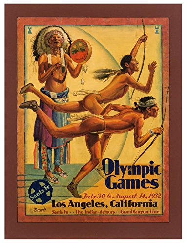 Old Tin Sign 11 x 14 1932 Santa Fe Railroad Poster Advertising The Los Angeles Olympics.