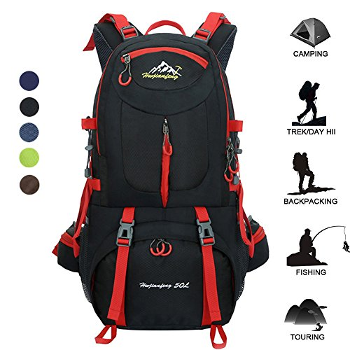 50L Waterproof Backpack Daypack Shoulder Bag for Sport Climbing Mountaineering Fishing Travel Hiking Cycling (50L Balck Backpack)