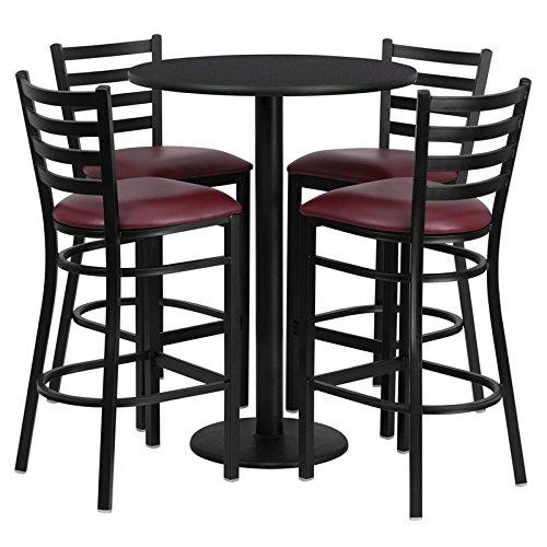 Dyersburg 5pcs Table Set Round 30'' Black Laminate, Burgundy Vinyl Barstool by iHome Studio