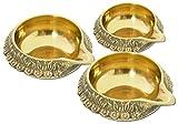 Set of 2 Decorative Brass Kuber Diya Oil Lamp India Religious Item (Large)
