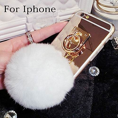iPhone 6 Case, iPhone 6s Case - LU2000 Cute 3D Fluff Pom Pom Keychain PC & TPU Fur Phone Case Gold Back Cover with Mirror for Apple iPhone 6/6s (4.7