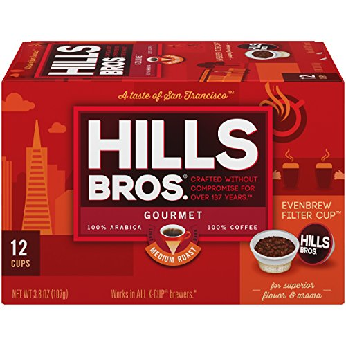 Hills Bros Single Serve Coffee Pods, Gourmet Medium Roast - 100% Premium Arabica Coffee - Compatible with Keurig K-Cup Brewers (12 Count)