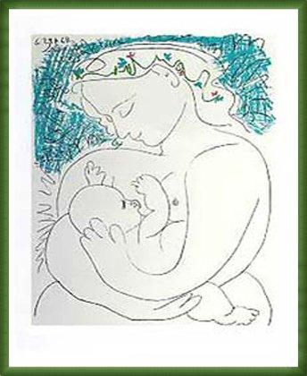 ポスター パブロ ピカソ 母性 額装品 ウッドベーシックフレーム(グリーン) B0031J0B56 グリーン グリーン