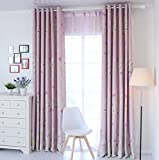 LELVA Boys and Girls Bedroom Decoration Curtains Kids Room Curtains Thermal Insulated Blackout Panel Packet 2 Piece (W37″ X L84″, Pink) For Sale