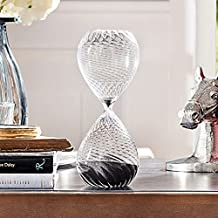 XDOBO New Spiral Pattern Design Hand-blown Hourglass and Sand Timer, Measures 30 Minutes (Black)