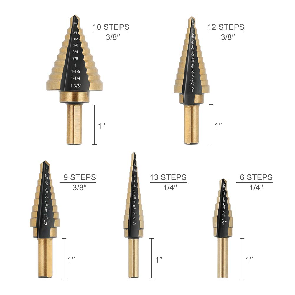High Speed Steel Short Length Drill Bit Titanium Coated Double Cutting Blades COMOWARE Step Drill Bit Total 10 Sizes