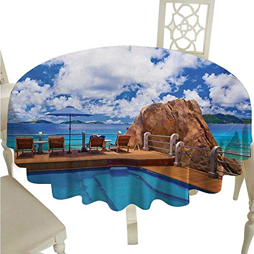 (Beach Elegant Waterproof Spillproof Polyester Fabric Table Cover Relaxation Journey Vacation Holiday Resort Rock and Ocean Picture Print Runners,Gatsby Wedding,Glam Wedding Decor,Vintage Weddings D70)