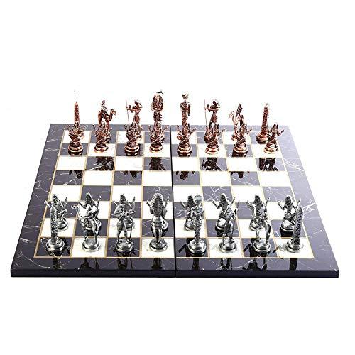 GiftHome Juego de ajedrez de metal con figuras de cobre antiguas del Antiguo Egipto para adultos, piezas hechas a mano y…