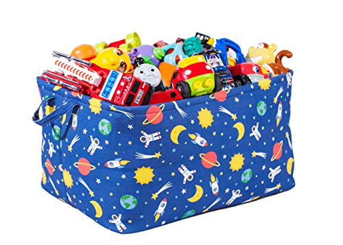 Toy Storage Basket with Outer Space/Galaxy Prints - Large Organizer Bin for Kids Toys and Books -