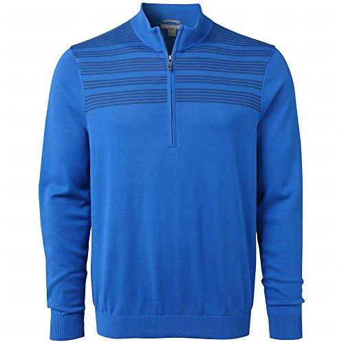 Ashworth Men's Engineer Chest Stripe Pima Half Zip Sweater (Large, Deep Cobalt) (Pima Half Zip)