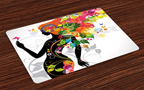 Colorful Place Mats Set of 4 by Ambesonne, Madame Butterfly Modern Version with Spring Spiral Circles Leaf Botany Girl Print, Washable Placemats for Dining Room Kitchen Table Decoration, Multicolor (Butterfly Setting Madame)
