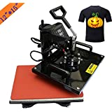 Heat Press 5 in 1 Digital Multifunctional Sublimation Heat Transfer Machine 12X15 inch for T-Shirts Hat Mug Cap Plate