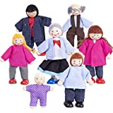My Doll Family | Wooden Cloth Dolls Compatible with Most Doll Houses Perfect for Kids & Toddlers, Comes with 7 Dolls Great for Imaginative Play