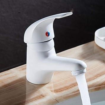 jruia Elegant Blanc Salle de Bain Robinet lavabo Robinet mitigeur monocommande Mitigeur Robinet de lavabo salle de bain Robinet pour salle de bain en laiton avec raccord Tuyaux