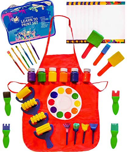 Little Kids Art Set - Kids Art Supplies - 48 Piece Set Paint Brushes, Bonus Paint Smock, Finger Paints, Palette, Foam Texture Brushes, Paper - Nontoxic Washable Paint - Learn to Paint Set