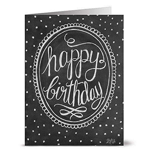 Happy Holidays Chalkboard (Framed Happy Birthday - 36 Chalkboard Note Cards - Blank Cards - Kraft Envelopes)