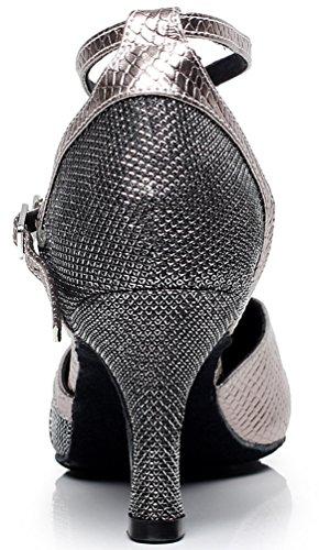 shoes toe nbsp;femme Tissu Tango Dance Fête Piste De Latine Cfp 6227 Mid Chacha Gris Rumba Round Talon Jj Danse qEx6xTZwf