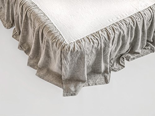 Linen Bed Skirt with Ruffles Stone Washed Softened European Linen Full/Double Size Natural Flax Gray Color (Flax Color)