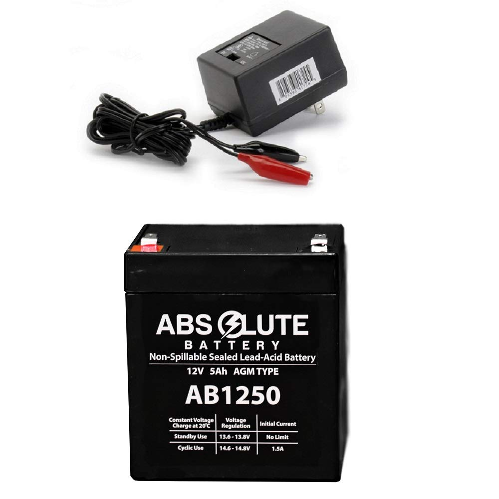 New AB1250 12V 5AH SLA Replacement Battery POWERSONIC PS-1242 PS-1250 & Charger by Absolute Battery