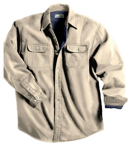- Tahoe Denim Shirt Jacket with Fleece Lining, Color: Khaki/Navy, Size: XXX-Large