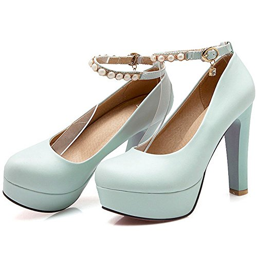 Pumps Pearl Round Blue Heeled Sweet Ankle Block Platform Dress Strap Women LongFengMa Toe Shoes SwaqItxAWn