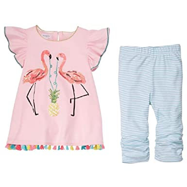 f1fa199ef Amazon.com  Mud Pie Baby Girl s Flamingo Tunic and Capris (Toddler ...