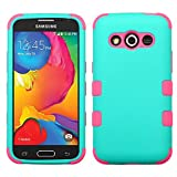 The Smart Choice (Tm) [ Samsung Galaxy Avant / G386t (T-mobile) Hybrid Tuff Case ] Hybrid Phone Protector Cover Dual Layer Hybrid Defender Protection Case { Free LCD Screen Protector } (Rubberized Teal Green/electric Pink)
