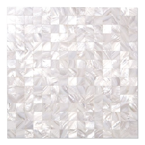 (Diflart White Seamless Mother of Pearl Square Tiles Pearl Shell Mosaic Backsplash Pack of)