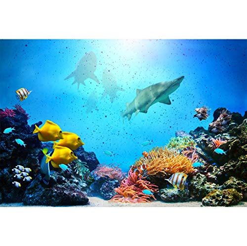 Price comparison product image Yeele 5x4ft Underwater World Background Colorful Seabed Marine Aquarium Coral Reef Photo Backdrop Kids Girl Boy Birthday Party Decorations Under The Sea Photography Studio Props