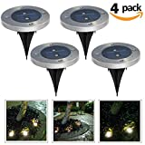 Solar Ground Light Outdoor Landscape Lighting Solar lights with 2 LEDs for Garden, Pathway, Stairway, driveway (pack of 4) by baymery (Silver(Warm white light))