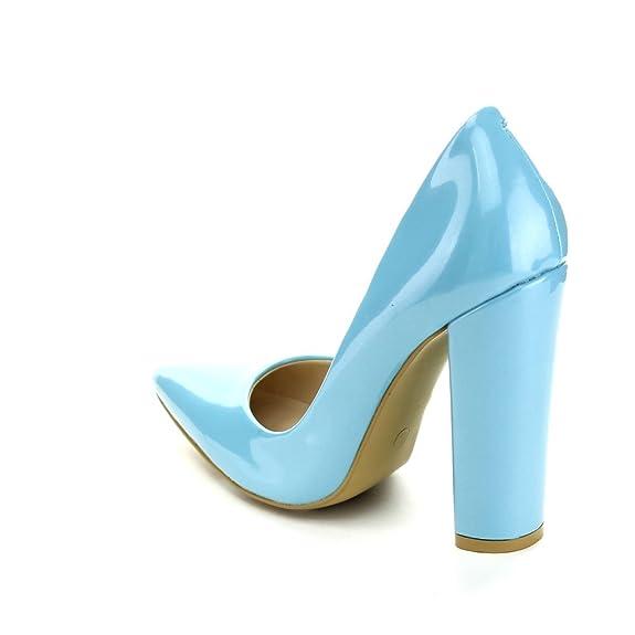 Amazon.com | C LABEL TAVI-1 Women's Pointed Toe Chunky Heel Party D'Orsay  Pumps, BLUE, 7.5 | Pumps