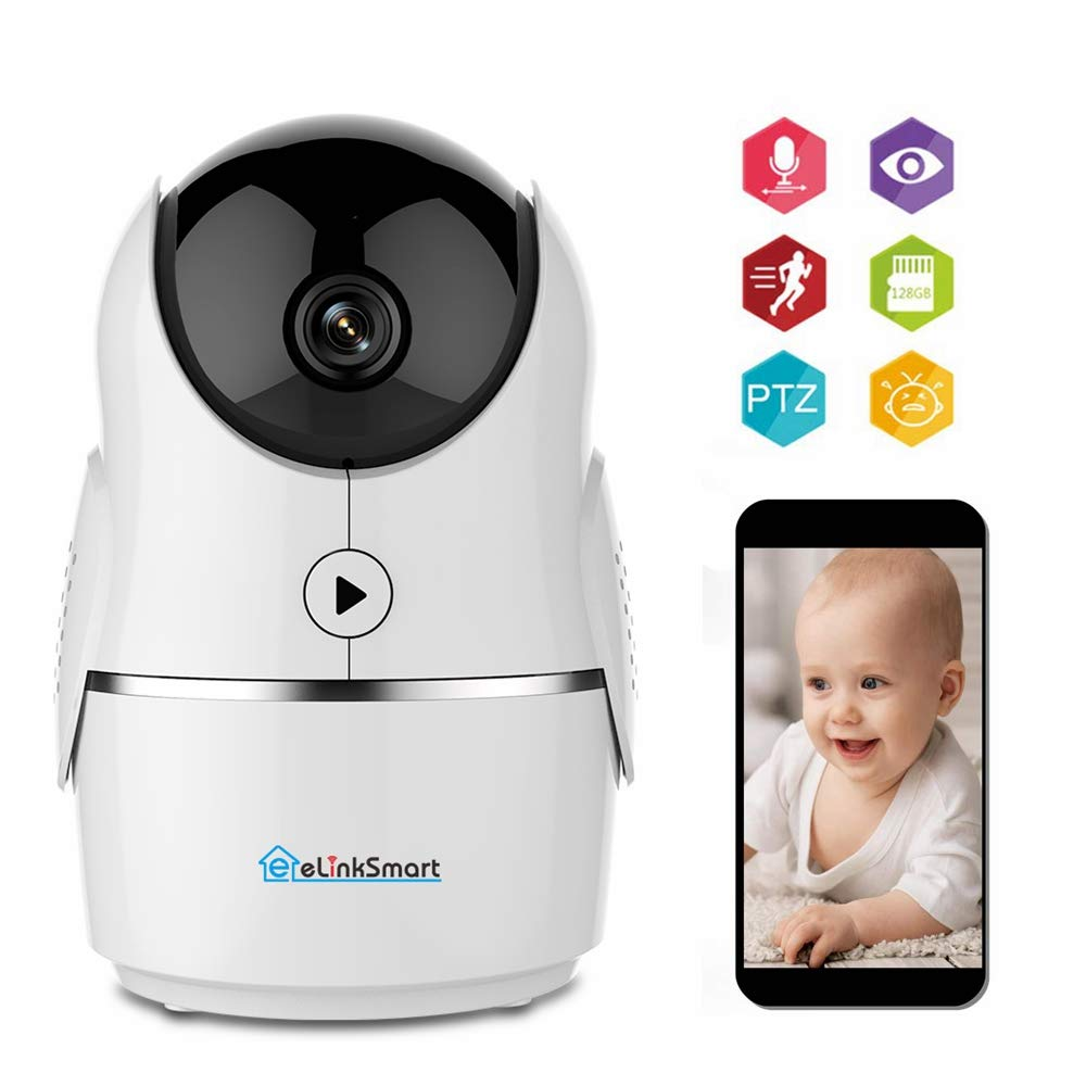 eLinkSmart 1080P FHD WiFi IP Camera Indoor Wireless Security Camera Motion Detection Night Vision Home Surveillance Monitor 2-Way Audio Baby Pet Elder Compatible with Alexa