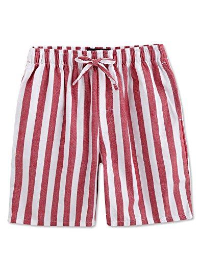 TINFL Youth Boys Plaid Cotton Sleep Lounge Shorts Pajama Pants YSP-14-Red M