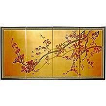 """Oriental Furniture Plum Tree on Gold Leaf - 24"""""""