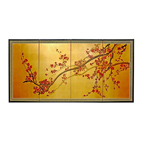 Oriental Furniture Plum Tree on Gold Leaf - - Gold Plum