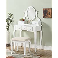 Roundhill Furniture Ashley Wood Make-Up Vanity Table and...
