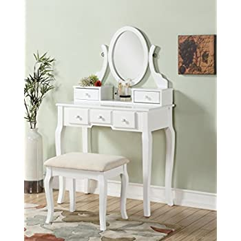 Roundhill Furniture Ashley Wood Make Up Vanity Table And Stool Set, White