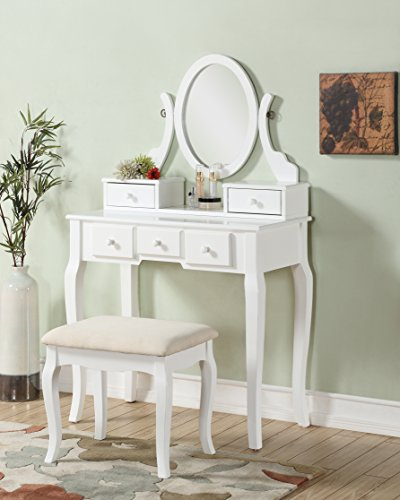 Roundhill Furniture Ashley Wood Make-Up Vanity Table and Stool Set, White (Stool For Table Vanity)