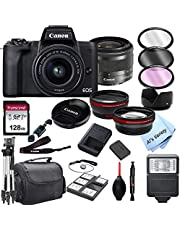 $879 » Canon EOS M50 Mark II Mirrorless Digital Camera with 15-45mm Zoom Lens Lens + 128GB Card, Tripod, Case, and More (24pc Bundle)
