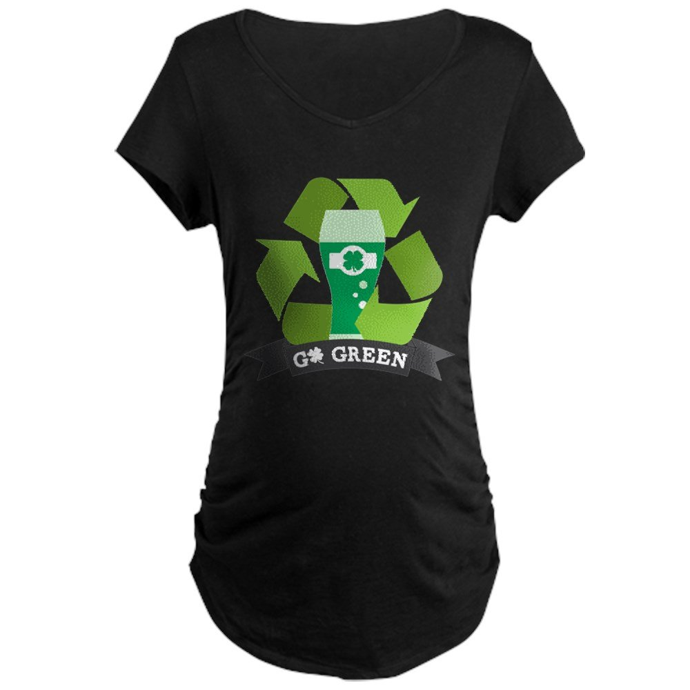 CafePress Go Green Cotton Maternity T-Shirt, Side Ruched Scoop Neck