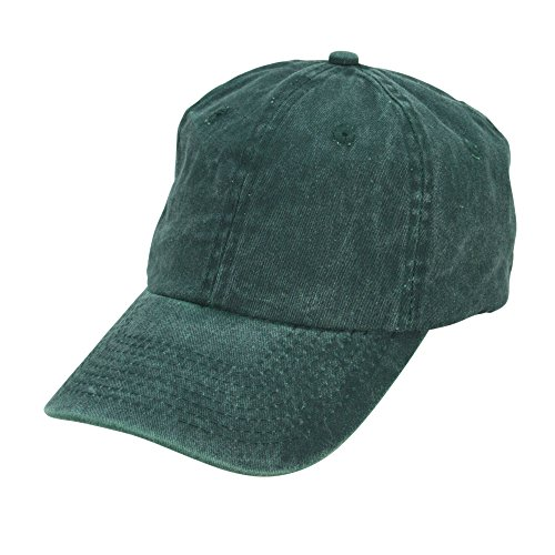 Mens Pigment Dyed Washed Cotton Cap - Adjustable Hat 6 Panel Unstructured (Heavy Washed Green)