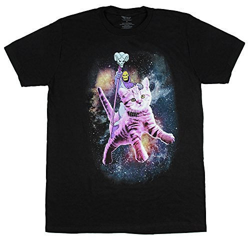 Skeletor Riding a Cat Funny Horror T-shirt for Men