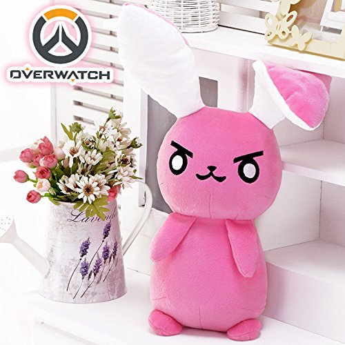 gg Overwatch OW DVA D.VA Rabbit Plush Doll Soft Toy Stuffed Cute Cosplay Prop Pink ()