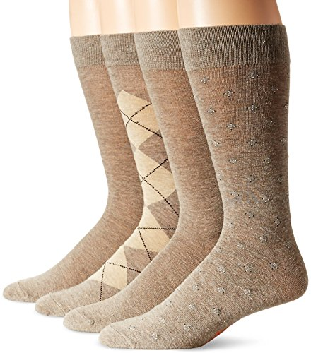 Dockers Men's 4 Pack Argyle Dress, Light Brown Heather Assorted, Shoe Size: 6-12 (Sock Size: 10-13)