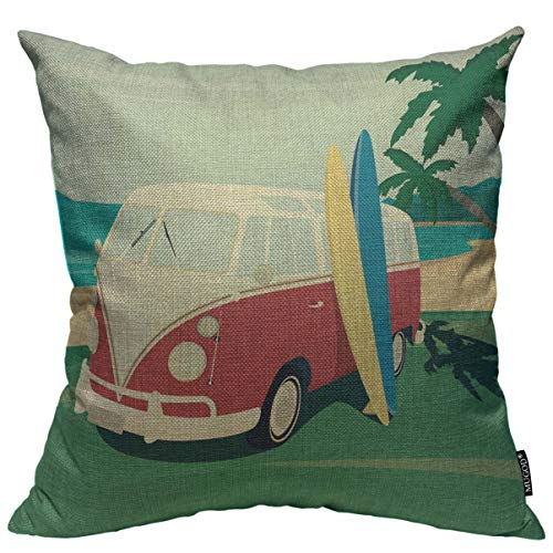 Mugod Surfer Red Bus Throw Pillow Cover Two Surfboards on The Tropical Beach Decorative Square Pillow Case for Home Bedroom Living Room Cushion Cover 18x18 Inch (Surfboard Pillows)