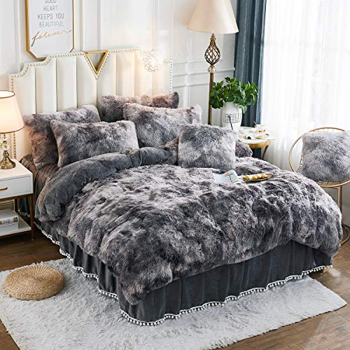 JAUXIO Luxury Long Faux Fur Bedding Set Shaggy Comforter Duvet Cover with Pillow Shams