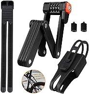 Winkeyes Folding Bike Lock Heavy Duty Folding Bicycle Lock Portable 4-Digit Passwords Bike Lock with 6 High Se