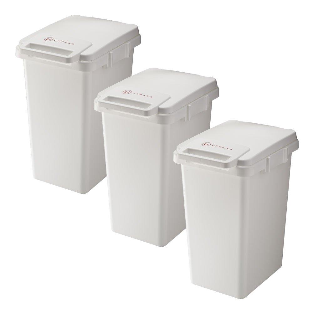 RISU URBANO 連結ワンハンドペール 45J 全2色の中から選べる3個セット ゴミ箱 ごみ箱 ダストボックス ふた付き おしゃれ リス (ホワイト×3個) B075YDK7BF ホワイト×3個 ホワイト×3個