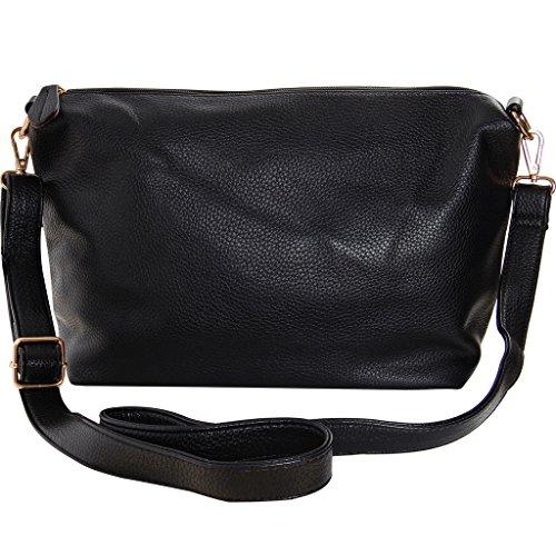 Humble Chic Crossbody Bag - Vegan Leather Satchel Messenger Hobo Handbag Shoulder Purse, Black - 14 inch (Replica Designer Bags)